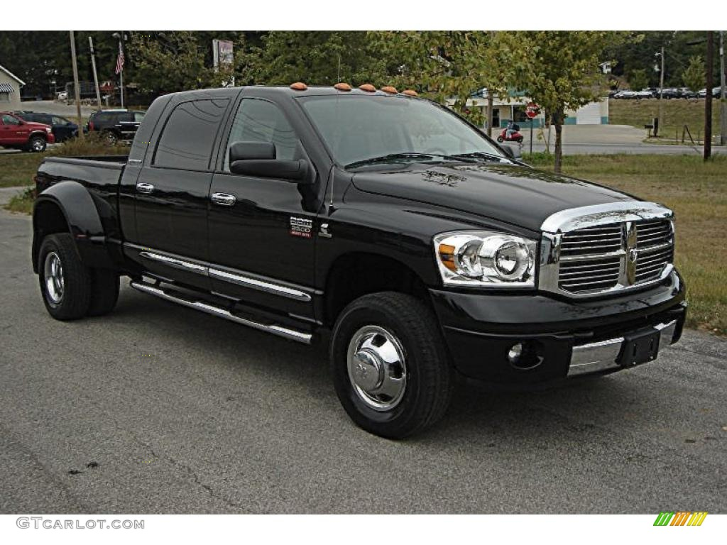 2007 Ram 3500 Laramie Mega Cab 4x4 Dually - Brilliant Black Crystal Pearl / Medium Slate Gray photo #1