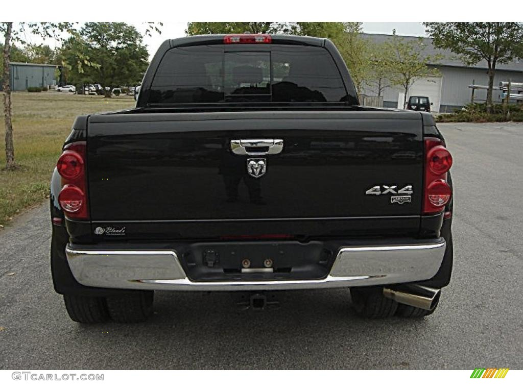 2007 Ram 3500 Laramie Mega Cab 4x4 Dually - Brilliant Black Crystal Pearl / Medium Slate Gray photo #4