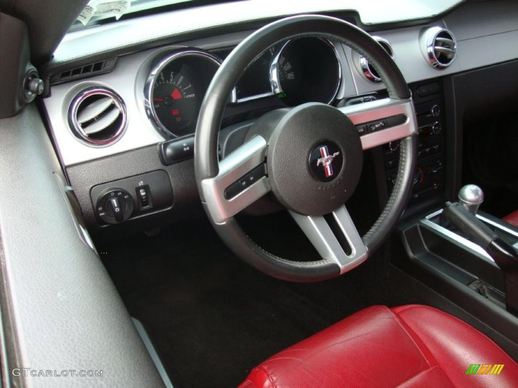 2007 Mustang GT Deluxe Coupe - Black / Black/Red photo #12