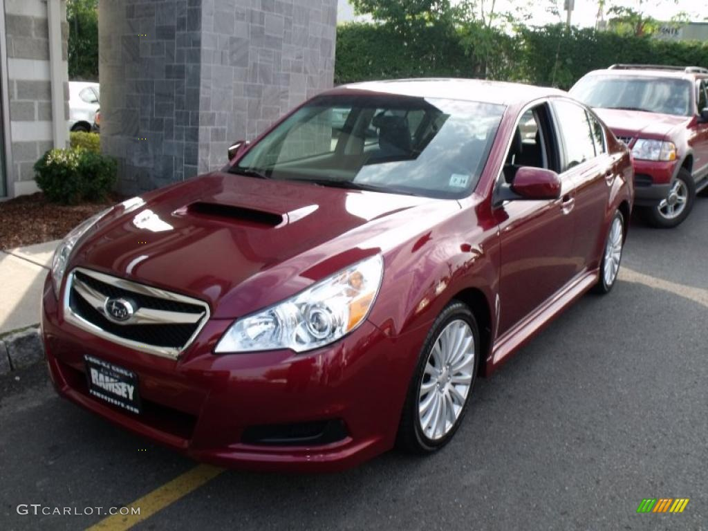2010 ruby red pearl subaru legacy 2 5 gt limited sedan 37175583 car color. Black Bedroom Furniture Sets. Home Design Ideas