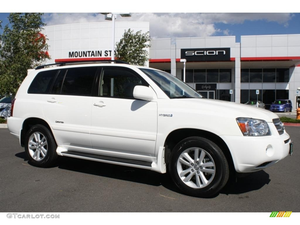 2007 super white toyota highlander hybrid limited 4wd 37321477 car color galleries. Black Bedroom Furniture Sets. Home Design Ideas