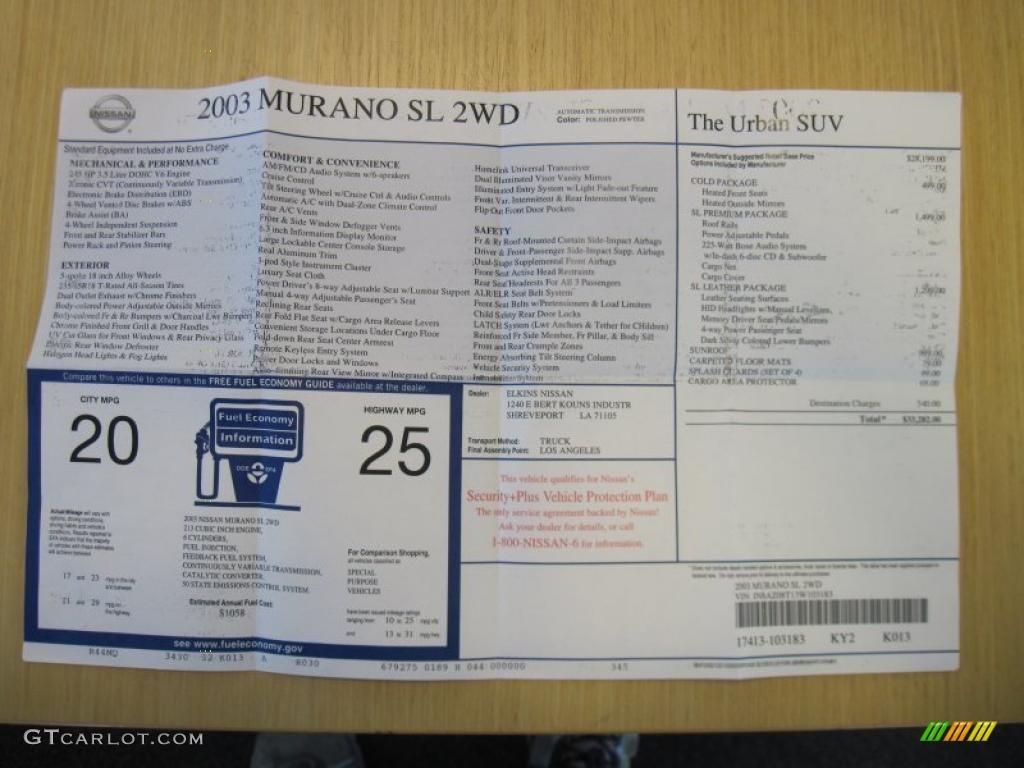 2003 Nissan Murano Sl Window Sticker Photo 37457589