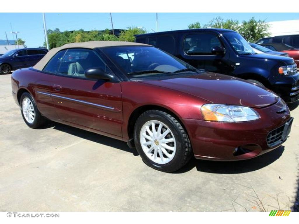 2002 Sebring LXi Convertible - Dark Garnet Red Pearl / Sandstone photo #1