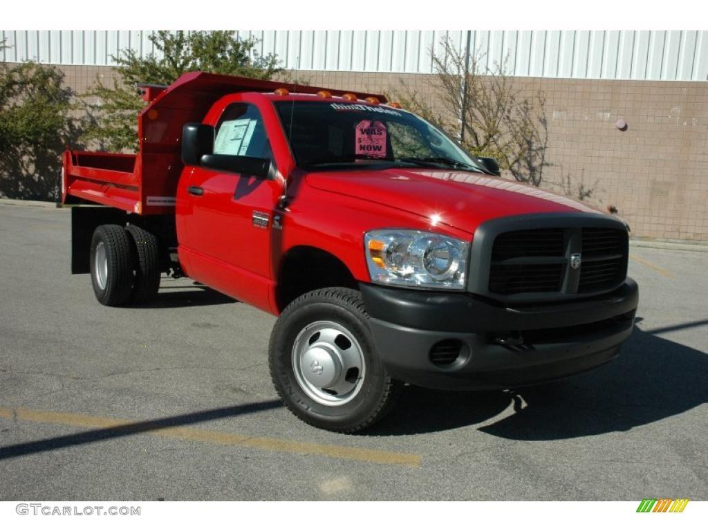 2009 Ram 3500 ST Regular Cab 4x4 Chassis Dump Truck - Flame Red / Medium Slate Gray photo #1