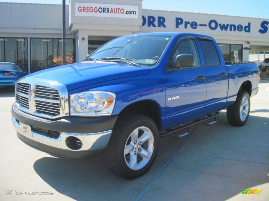 2008 Ram 1500 Big Horn Edition Quad Cab 4x4 - Electric Blue Pearl / Medium Slate Gray photo #1