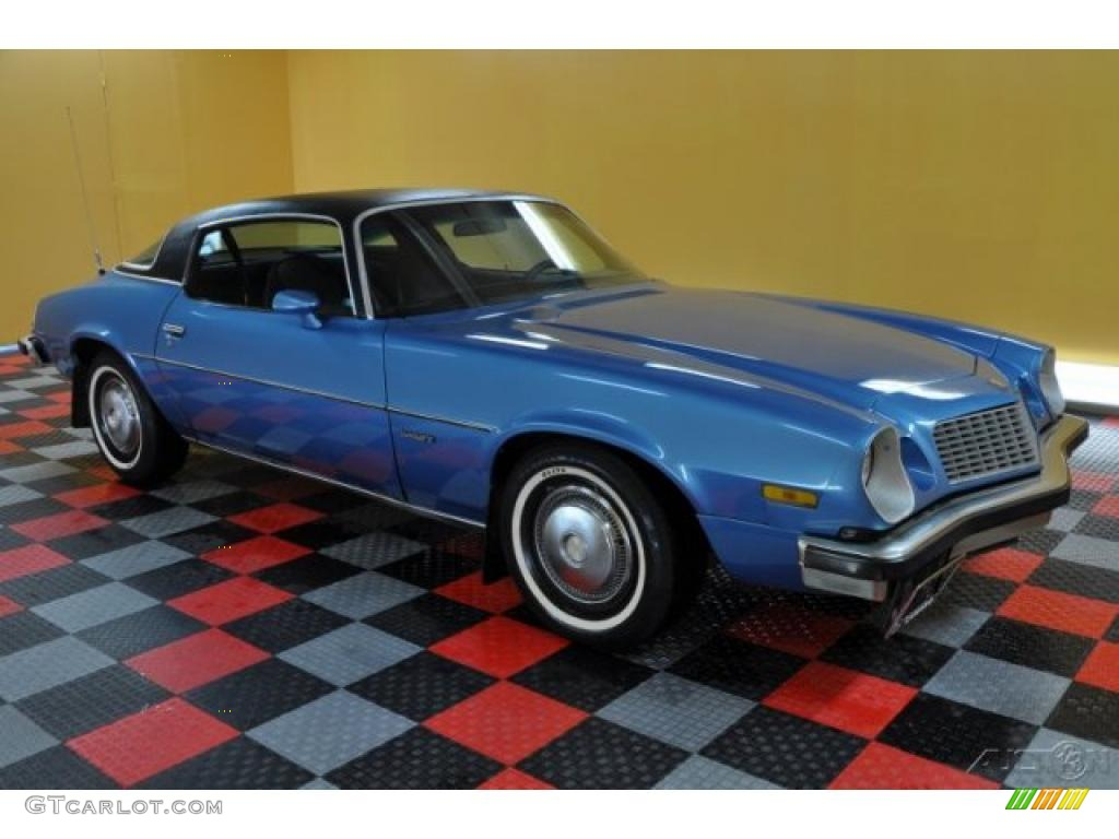 1975 bright blue metallic chevrolet camaro sport coupe. Black Bedroom Furniture Sets. Home Design Ideas