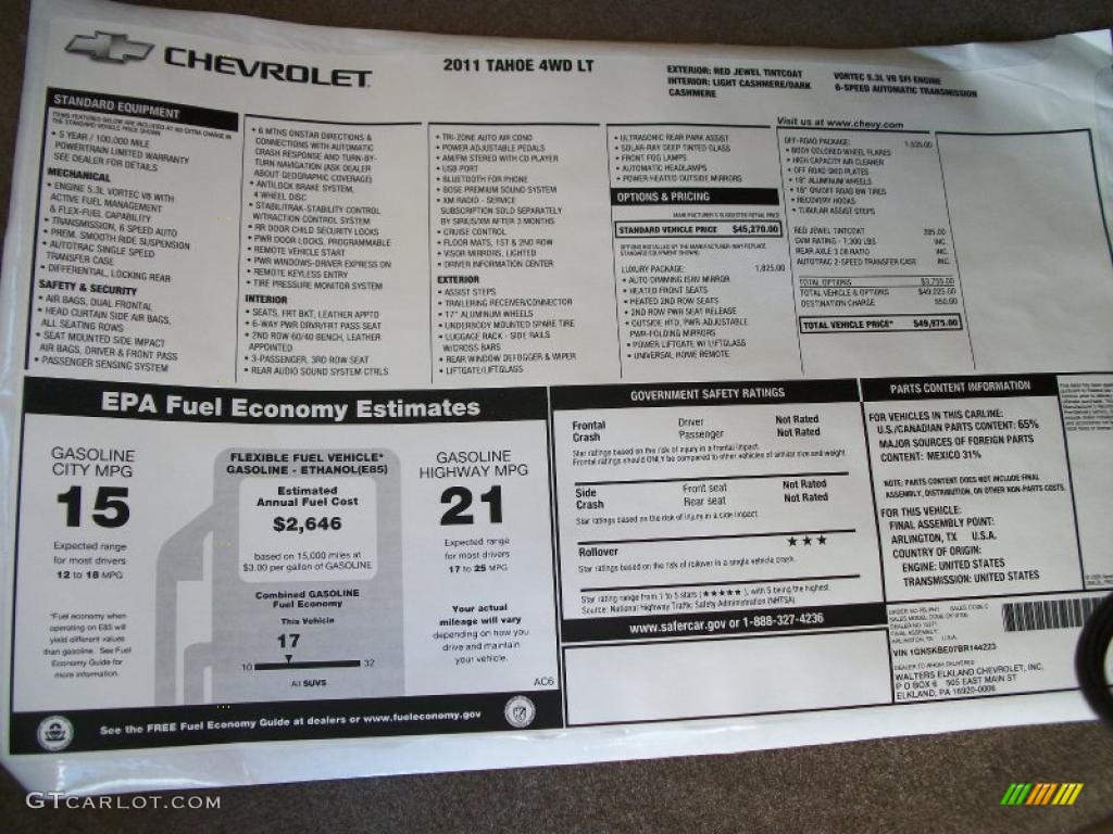 2011 Chevrolet Tahoe LT 4x4 Window Sticker Photo #37874742 | GTCarLot ...