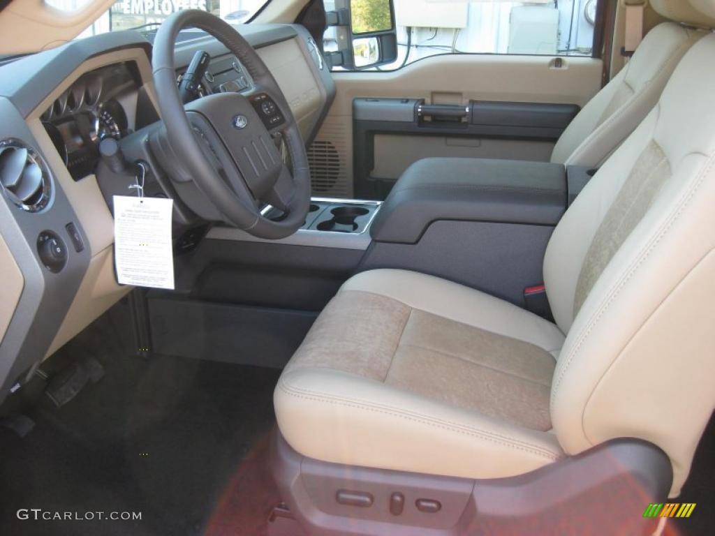 adobe two tone leather interior 2011 ford f250 super duty lariat supercab 4x4 photo 37894368. Black Bedroom Furniture Sets. Home Design Ideas