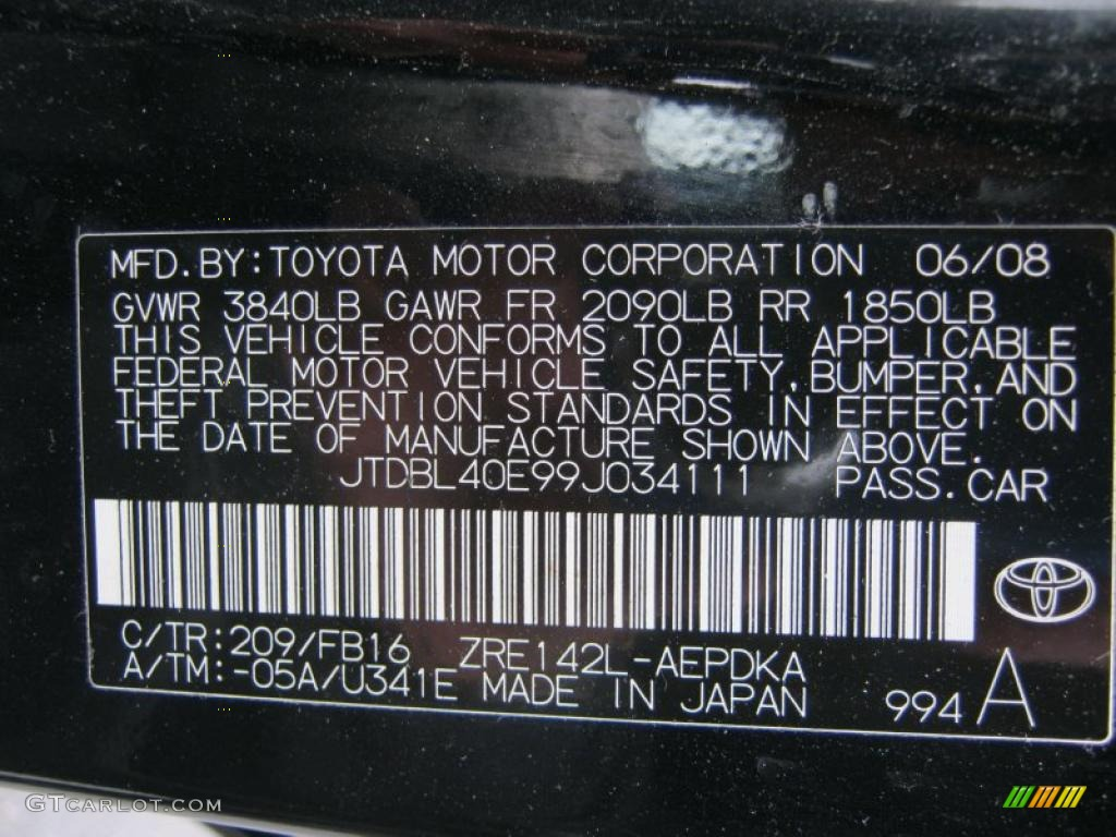 2009 Corolla Color Code 209 for Black Sand Pearl Photo ...