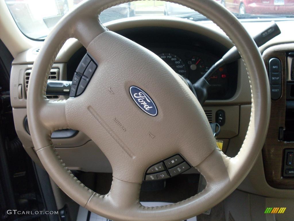 2003 Ford Explorer Eddie Bauer Medium Parchment Beige Steering Wheel Photo #38081027