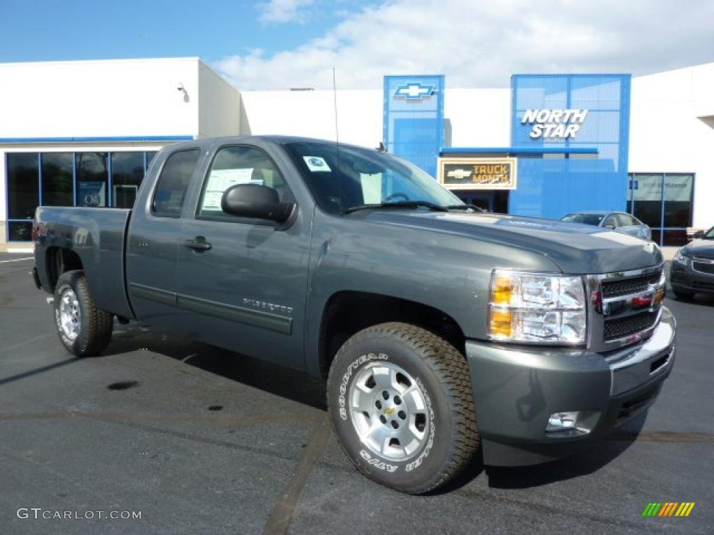 2011 Silverado 1500 LT Extended Cab 4x4 - Steel Green Metallic / Ebony photo #1