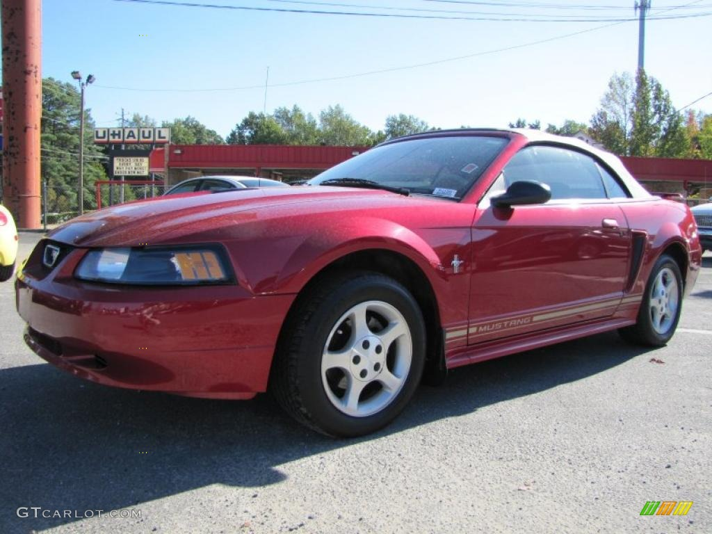 2001 Mustang V6 Convertible - Laser Red Metallic / Medium Parchment photo #1