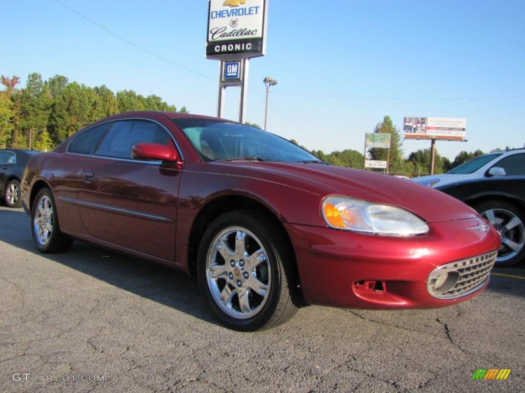 2002 Sebring LXi Coupe - Ruby Red Pearl / Black/Beige photo #1