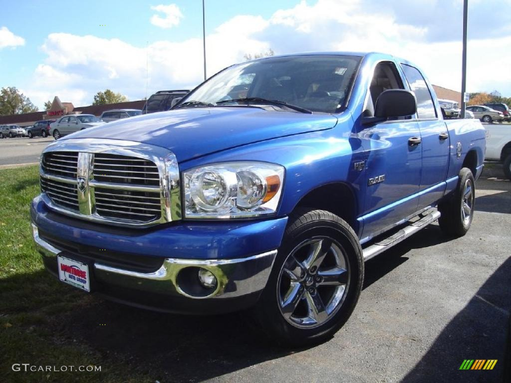 2008 electric blue pearl dodge ram 1500 big horn edition quad cab 4x4 38474567. Black Bedroom Furniture Sets. Home Design Ideas