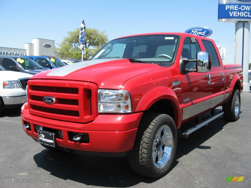 2007 f250 super duty xlt crew cab 4x4 renegade red clearcoat black leather photo