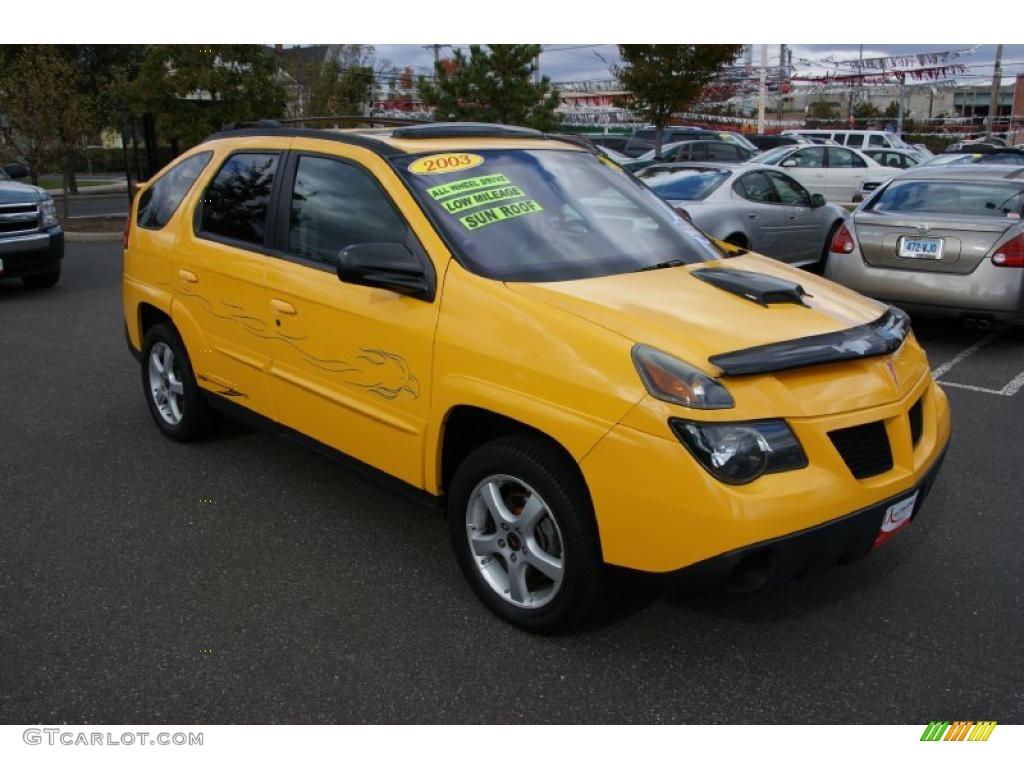 Aztek yellow 2003 pontiac aztek awd exterior photo 38618318
