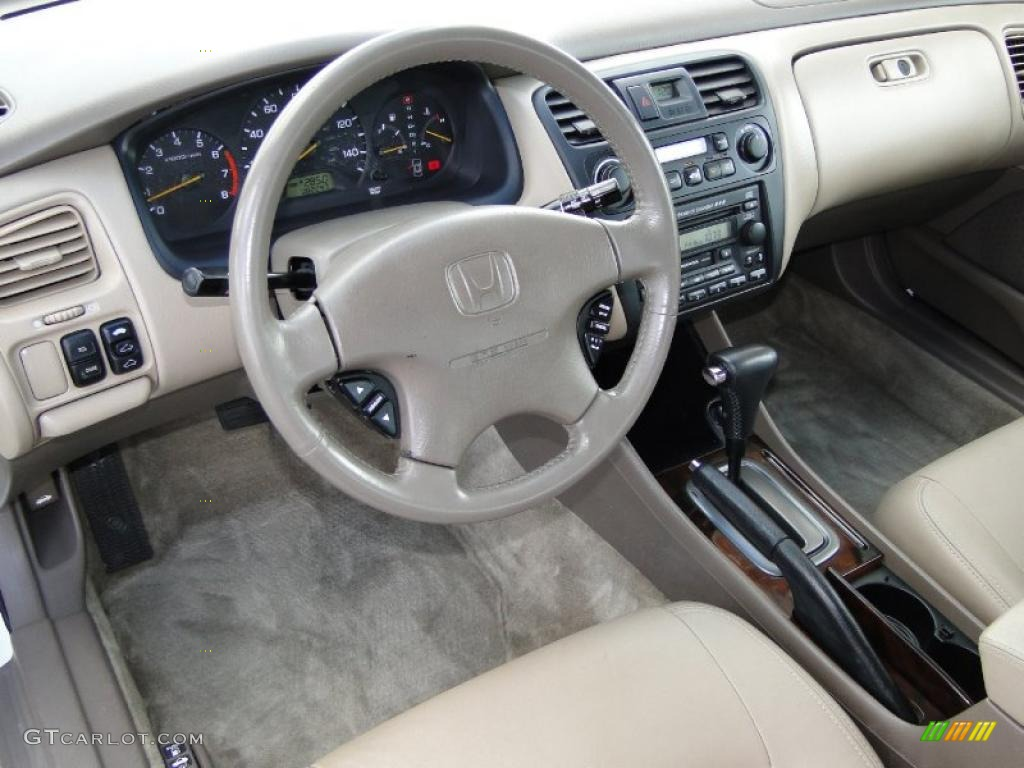 Amazing Ivory Interior 2002 Honda Accord EX V6 Sedan Photo #38685214