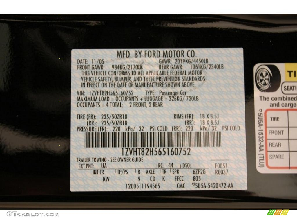 2006 Ford Mustang GT Premium Coupe Info Tag Photo #38696574