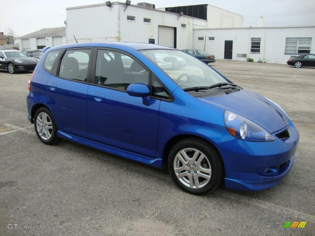 vivid blue pearl 2008 honda fit sport exterior photo