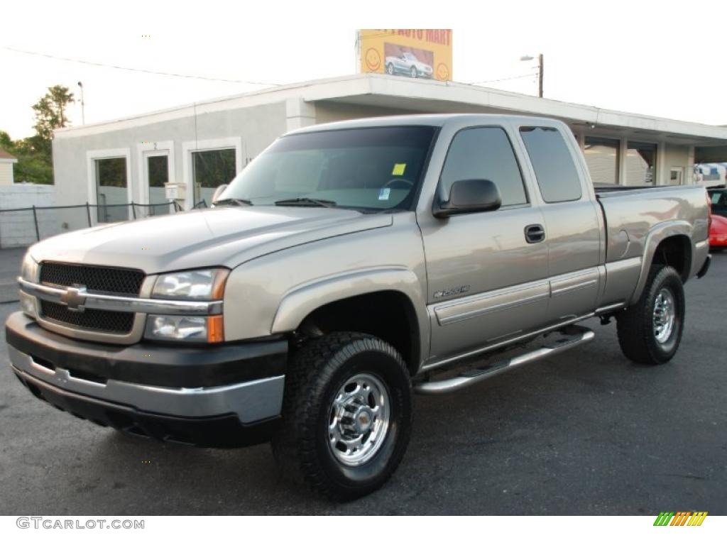 light pewter metallic 2003 chevrolet silverado 2500hd ls extended cab 4x4 exterior photo. Black Bedroom Furniture Sets. Home Design Ideas