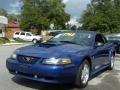 2003 Sonic Blue Metallic Ford Mustang V6 Convertible  photo #1