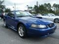 2003 Sonic Blue Metallic Ford Mustang V6 Convertible  photo #7