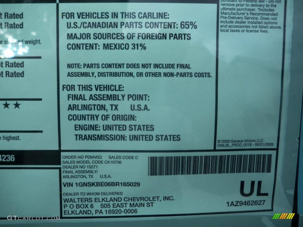 2011 Chevrolet Tahoe Lt 4x4 Window Sticker Photo 38975034