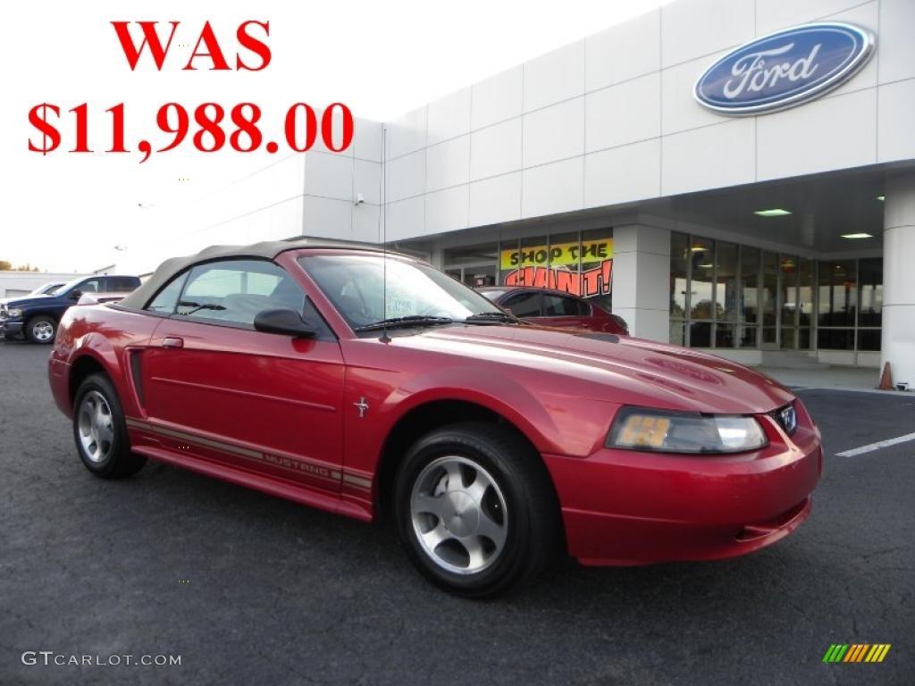 2000 Mustang V6 Convertible - Laser Red Metallic / Medium Parchment photo #1