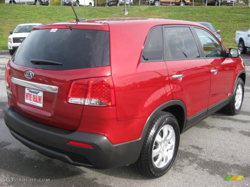 2011 Sorento LX AWD - Spicy Red / Gray photo #6