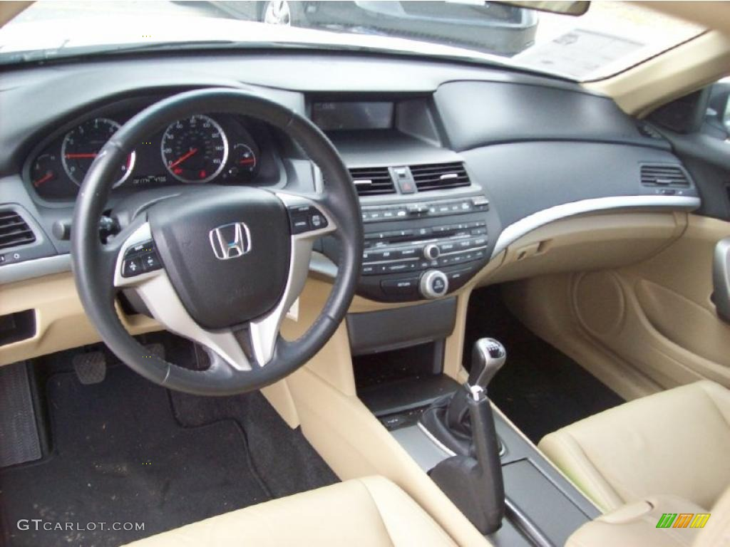 Ivory Interior 2008 Honda Accord Ex L V6 Coupe Photo 38988941