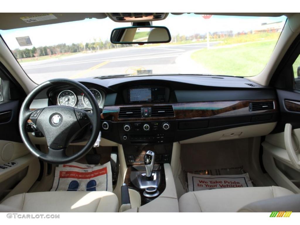 2008 bmw 5 series 528xi sedan cream beige dakota leather dashboard photo 39009267