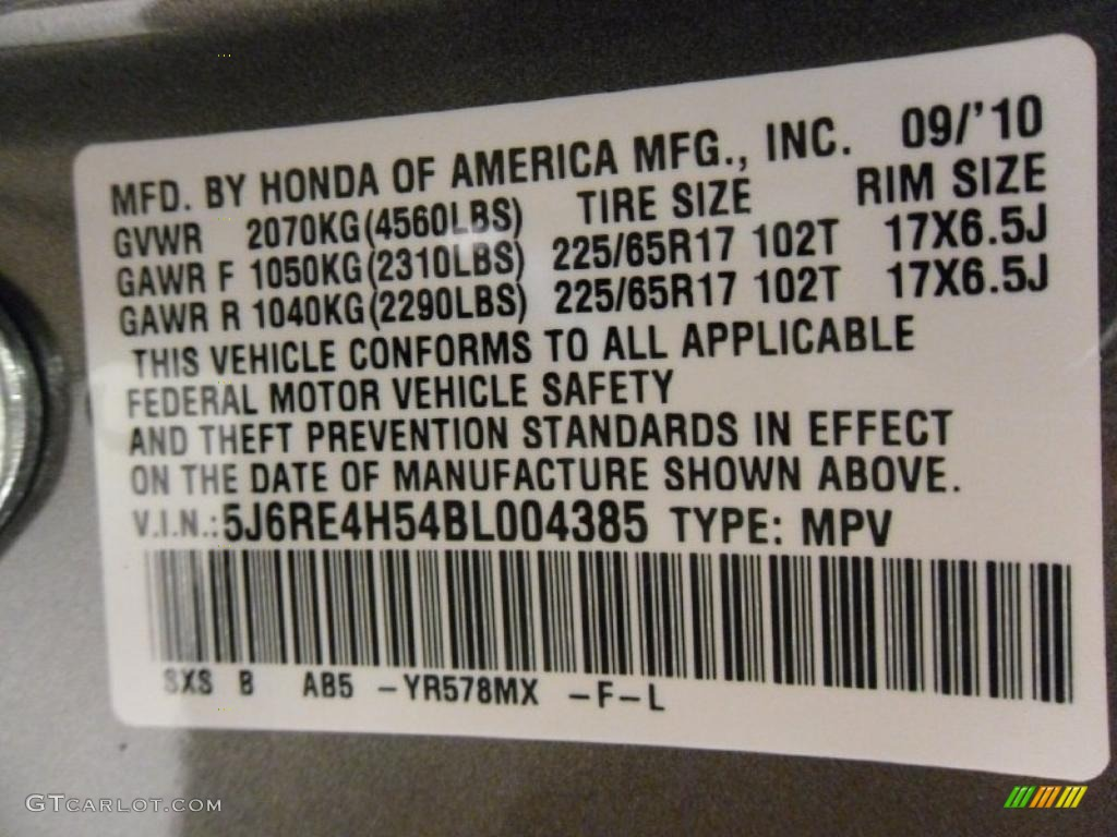 2011 CR-V EX 4WD - Urban Titanium Metallic / Ivory photo #8