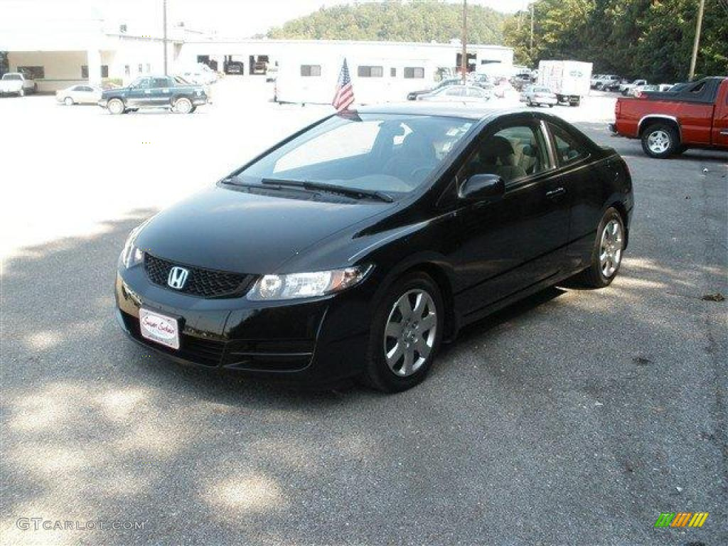 crystal black pearl 2009 honda civic lx coupe exterior