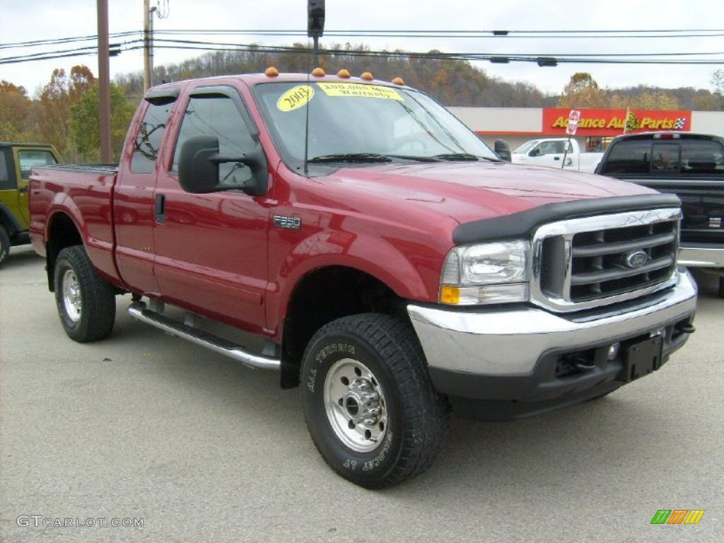 toreador red metallic 2003 ford f350 super duty xlt supercab 4x4 exterior photo 39130175. Black Bedroom Furniture Sets. Home Design Ideas