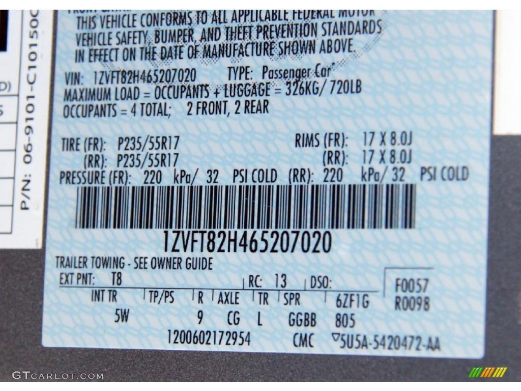 2006 Mustang Color Code T8 For Tungsten Grey Metallic