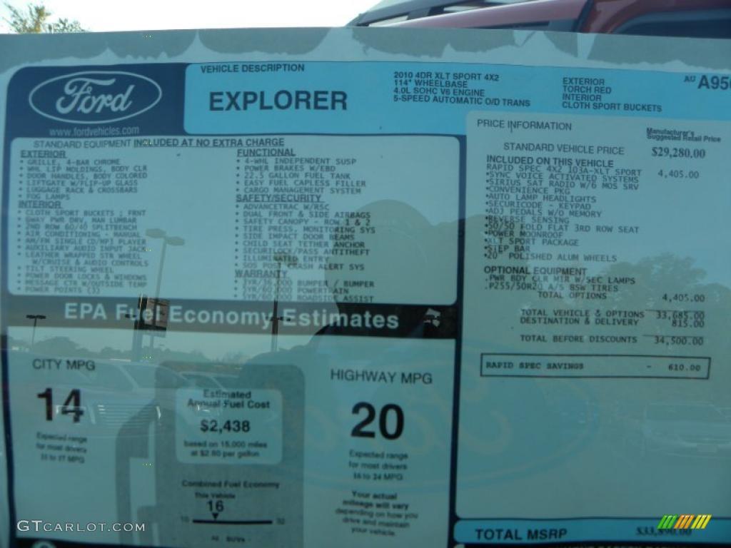 2010 ford explorer xlt sport window sticker photo 39207874. Black Bedroom Furniture Sets. Home Design Ideas