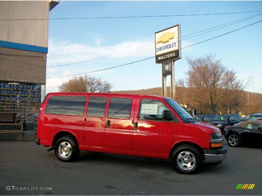 2011 victory red chevrolet express ls 1500 awd passenger van 39148330 car. Black Bedroom Furniture Sets. Home Design Ideas