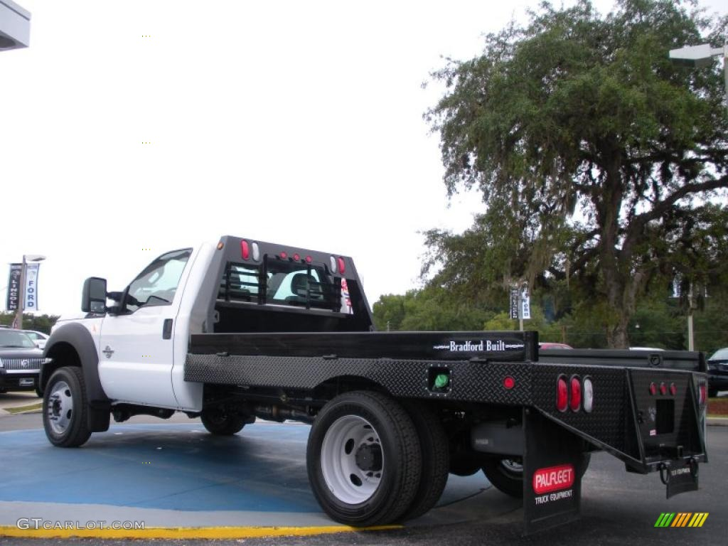 2011 f450 super duty xl regular cab chassis flat bed oxford white steel photo