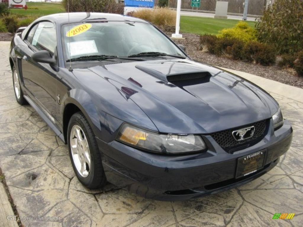 2003 Mustang V6 Coupe - True Blue Metallic / Dark Charcoal/Medium Graphite photo #1