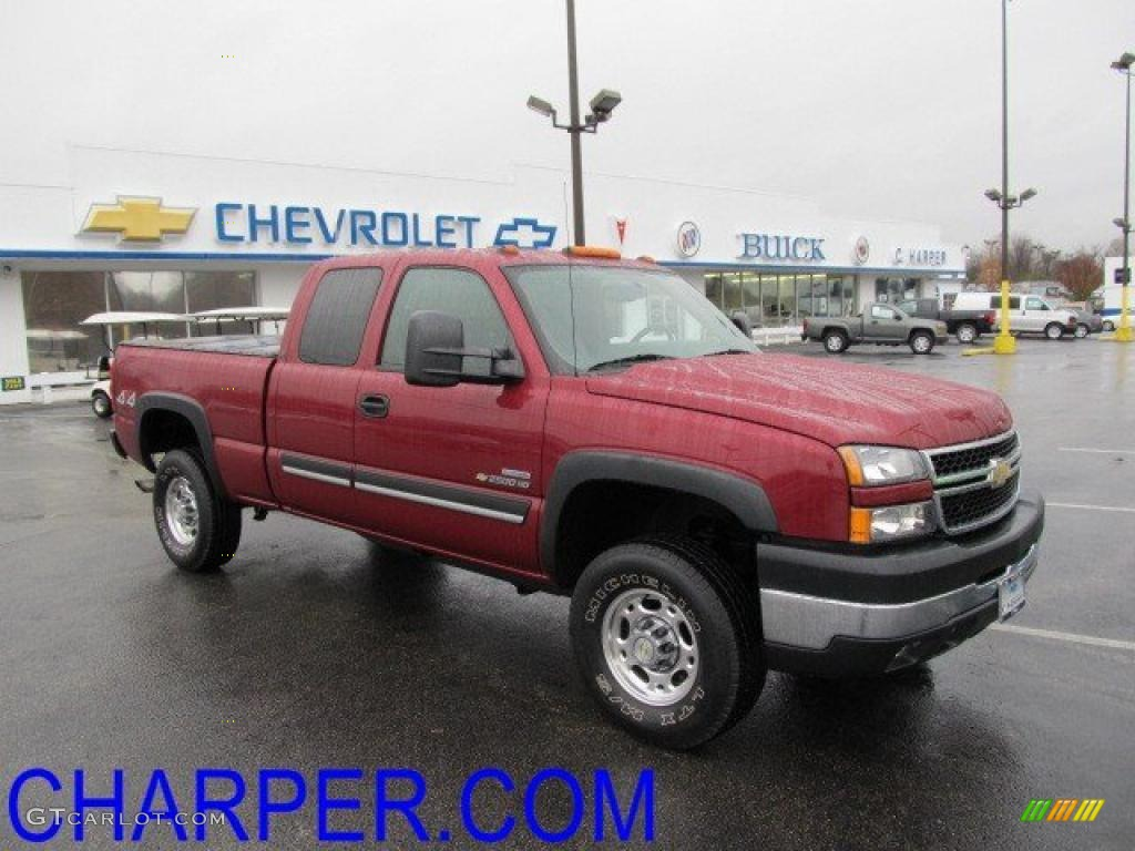 2006 sport red metallic chevrolet silverado 2500hd lt extended cab 4x4 39326376. Black Bedroom Furniture Sets. Home Design Ideas