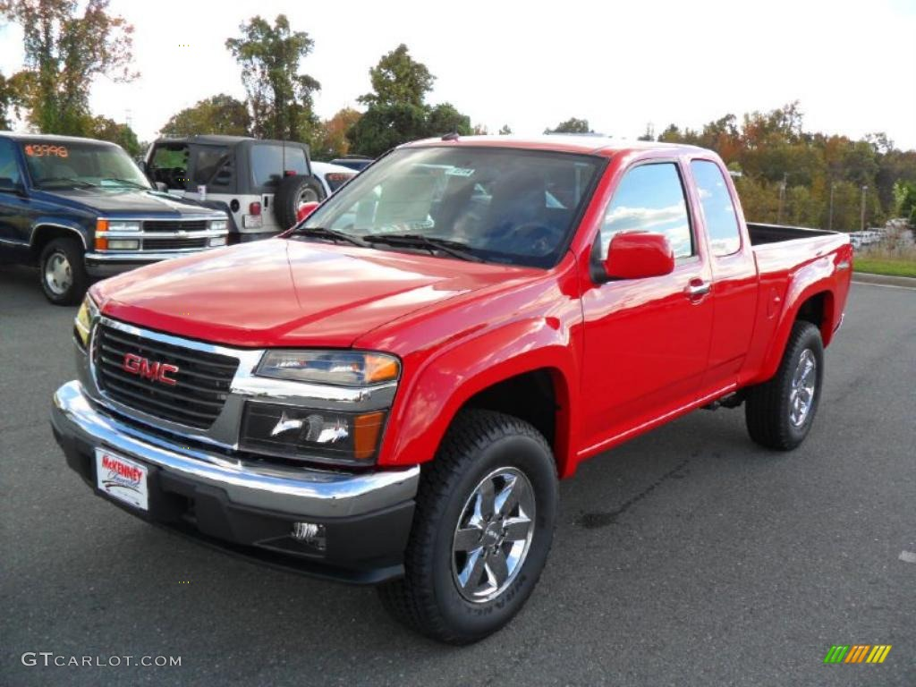 Fire red 2011 gmc canyon sle extended cab 4x4 exterior photo 39423026