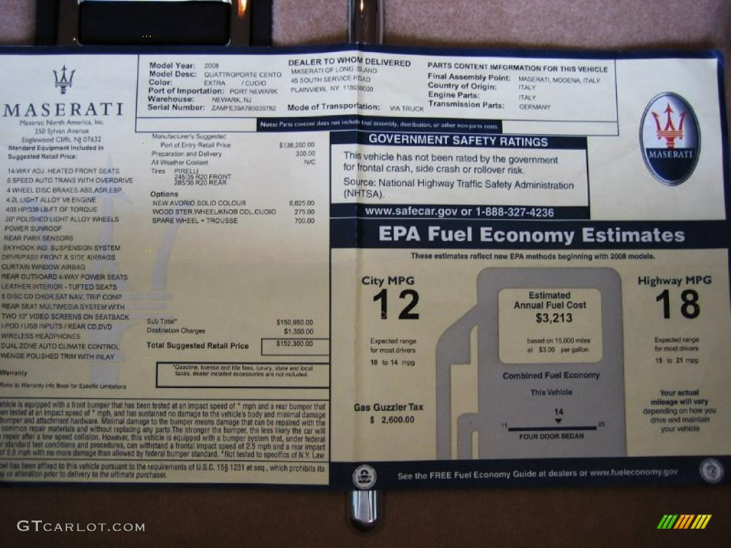 2008 Maserati Quattroporte Sport Gt S Window Sticker Photo