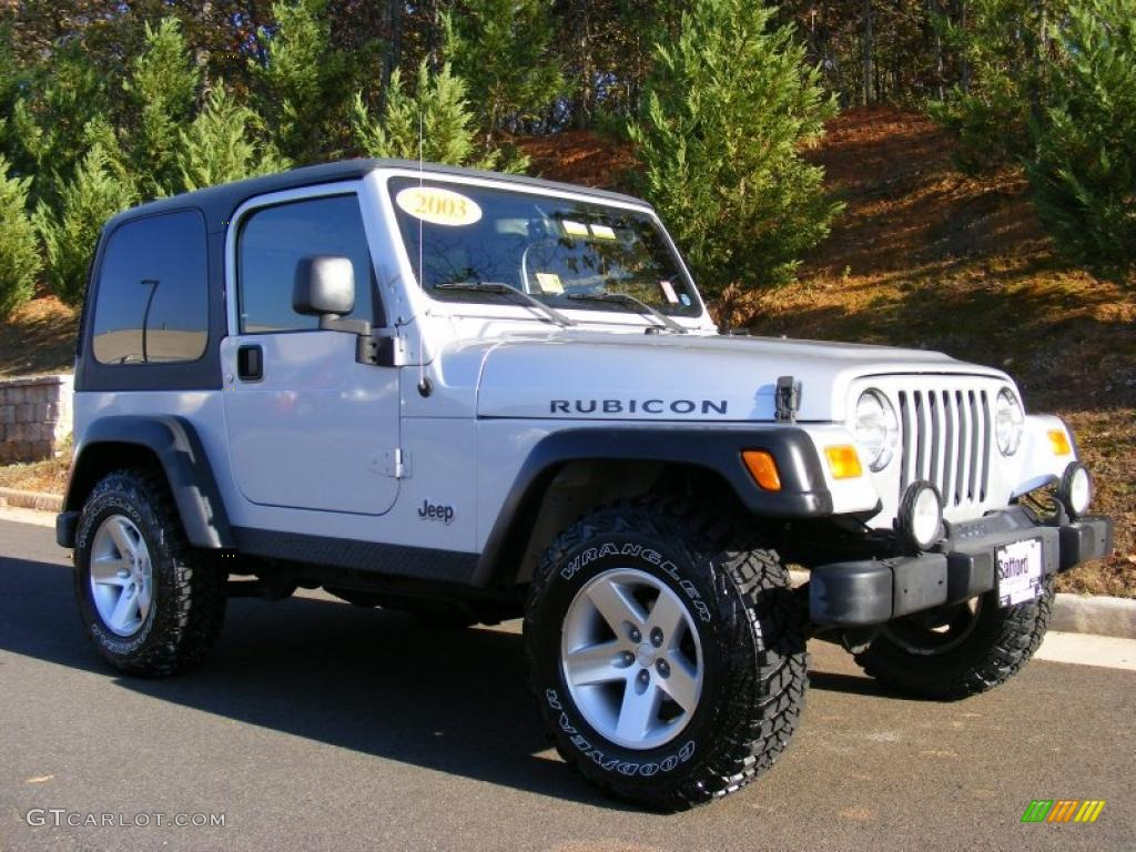 bright silver metallic 2003 jeep wrangler rubicon 4x4. Black Bedroom Furniture Sets. Home Design Ideas