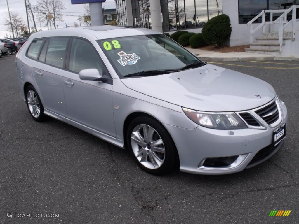 snow silver metallic 2008 saab 9 3 aero sportcombi wagon. Black Bedroom Furniture Sets. Home Design Ideas
