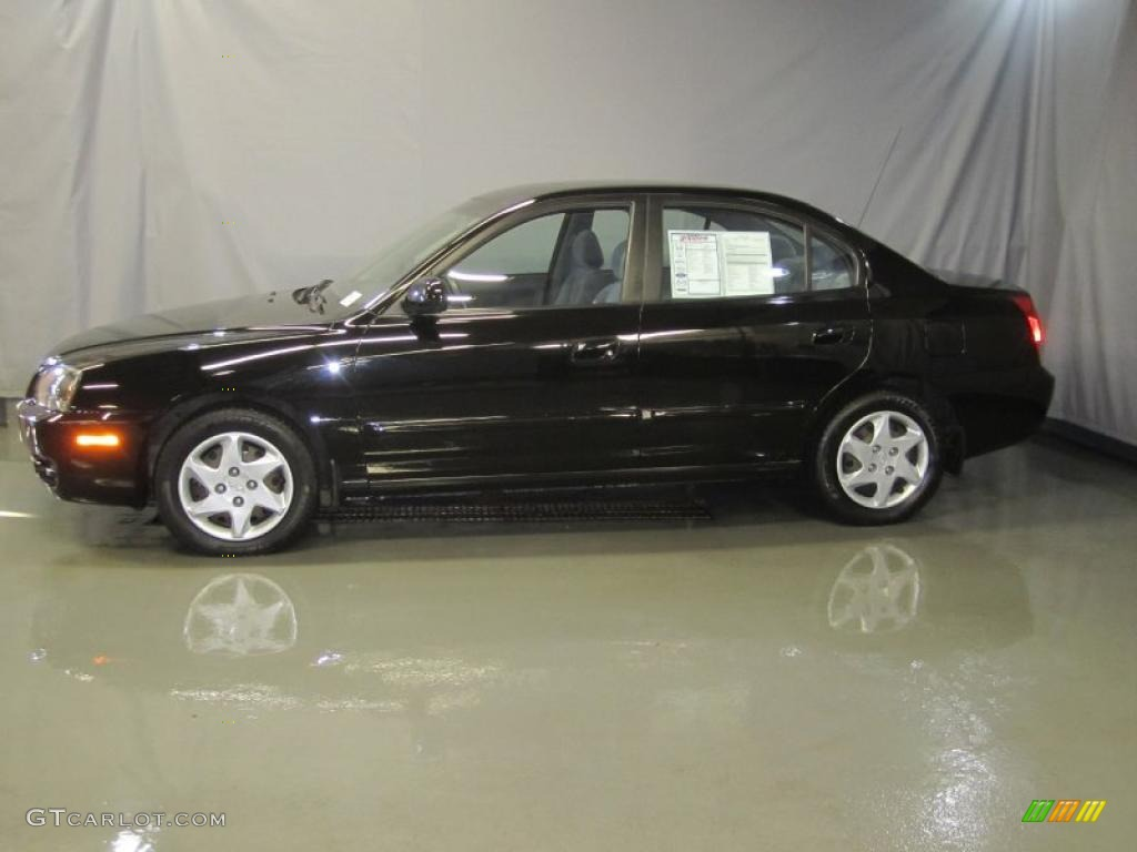 2005 black obsidian hyundai elantra gls sedan 39739615. Black Bedroom Furniture Sets. Home Design Ideas