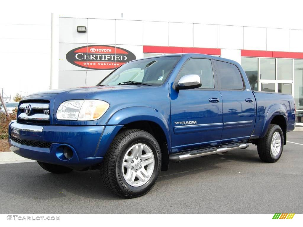 2005 Tundra SR5 Double Cab   Spectra Blue Mica / Taupe Photo #1