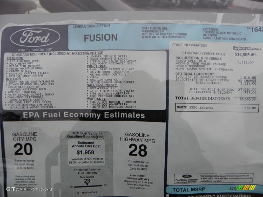 2011 Fusion SEL V6 - Tuxedo Black Metallic / Camel photo #8