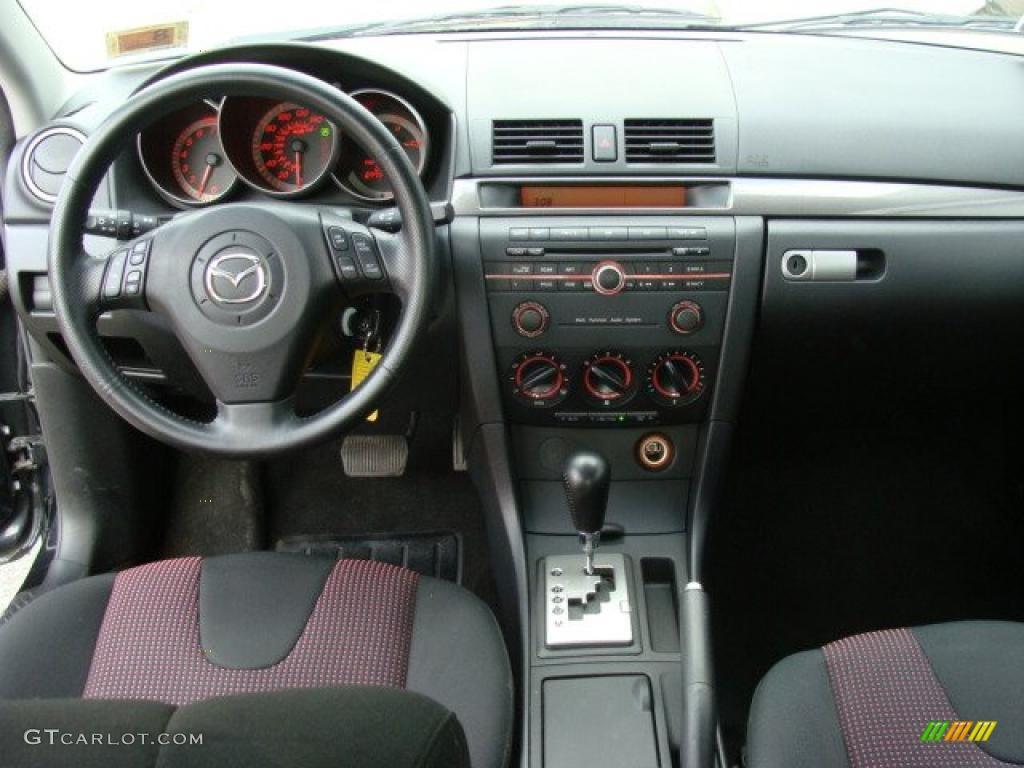 2004 Mazda Mazda3 S Sedan Black Red Dashboard Photo