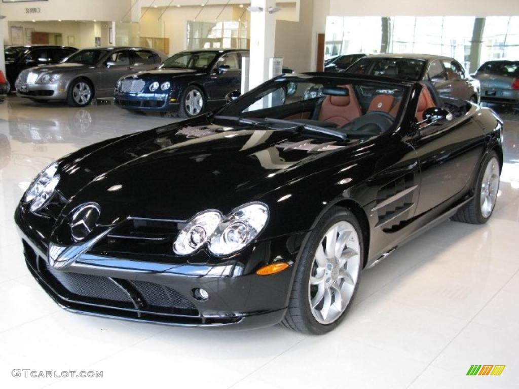 2008 pure black mercedesbenz slr mclaren roadster
