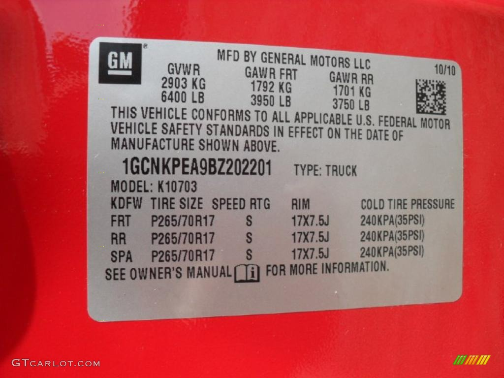 2011 Chevrolet Silverado 1500 Regular Cab 4x4 Info Tag Photo #40155441